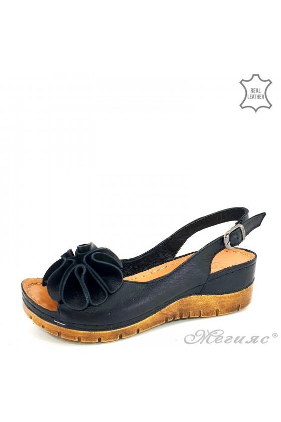 Дамски сандали на платформа естествена кожа черни 1088
