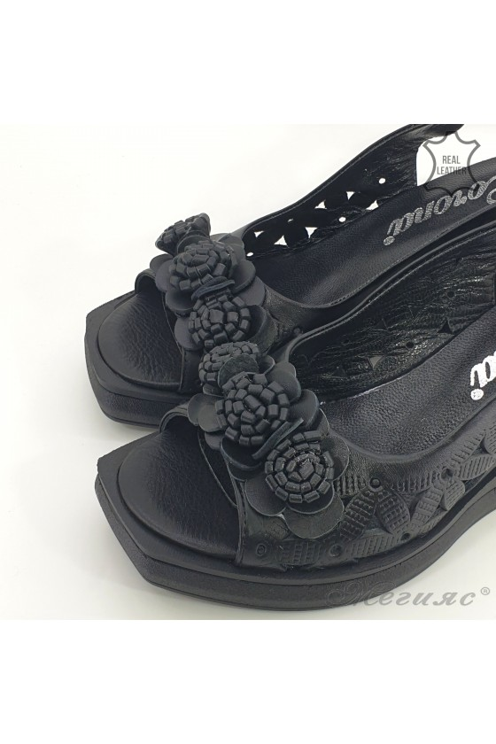 Дамски сандали на платформа естествена кожа черни 2018