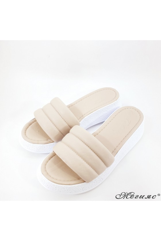 Lady slippers beige pu 297