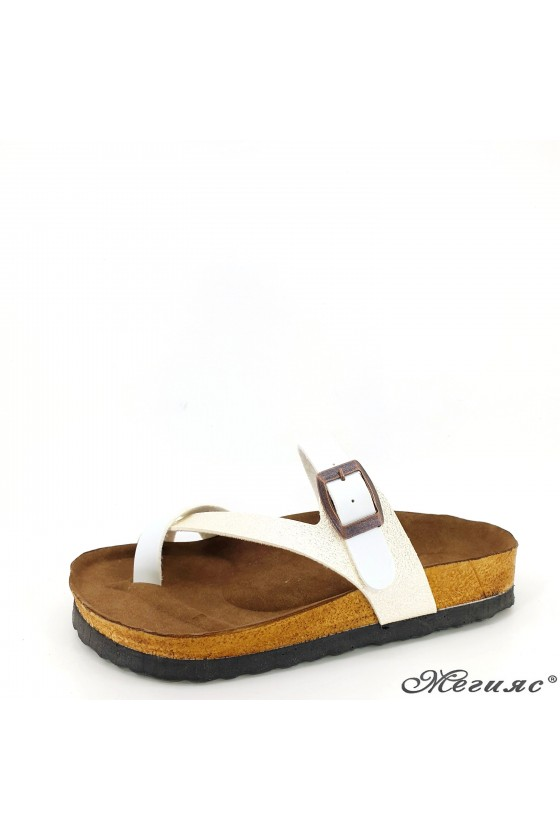 Lady flippers white pu 5004