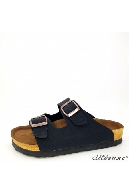 Дамски чехли от еко набук черни 5002