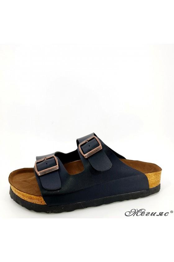 Lady flippers black pu 5002