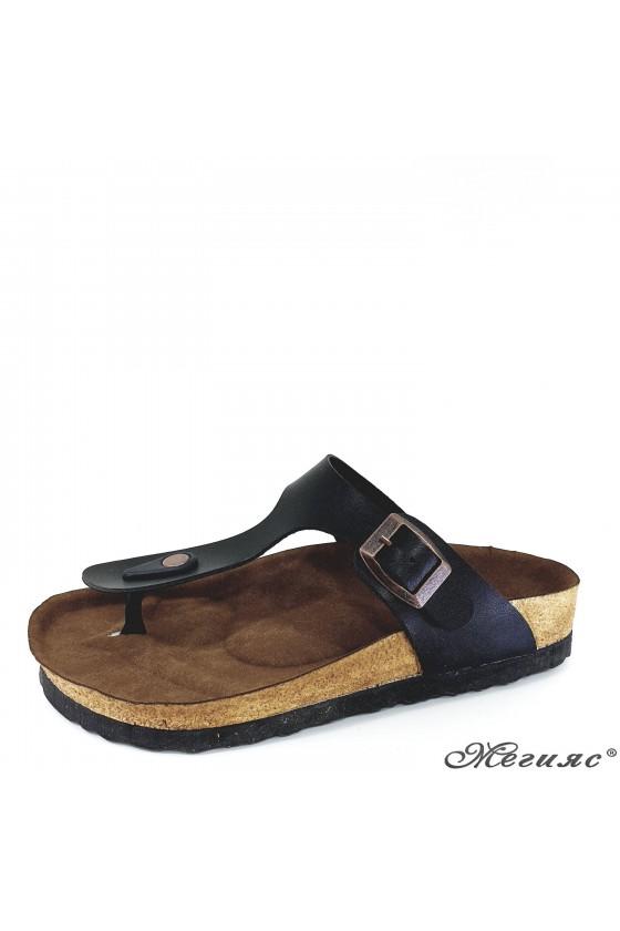Lady flippers black pu 5001