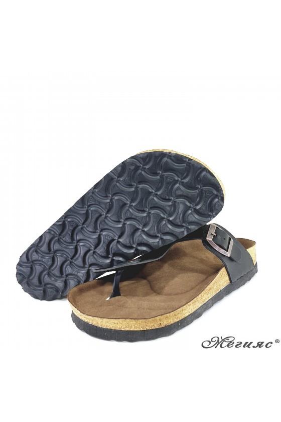 Дамски чехли от еко кожа черни 5001