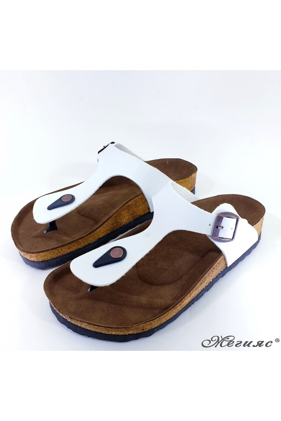 Lady flippers white pu 5001