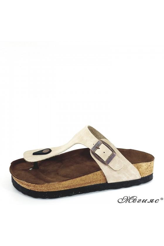 Lady flippers beige suede 5001