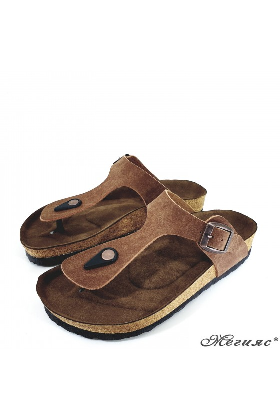 Lady flippers brown suede 5001