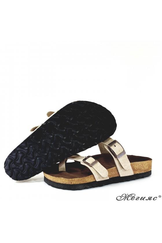 Lady flippers beige suede 5003