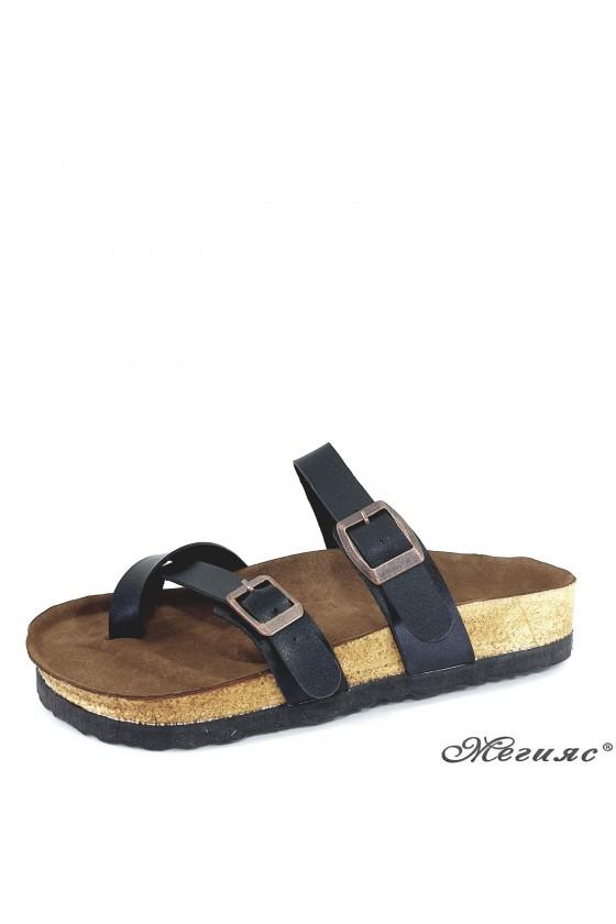 Lady flippers black pu 5003