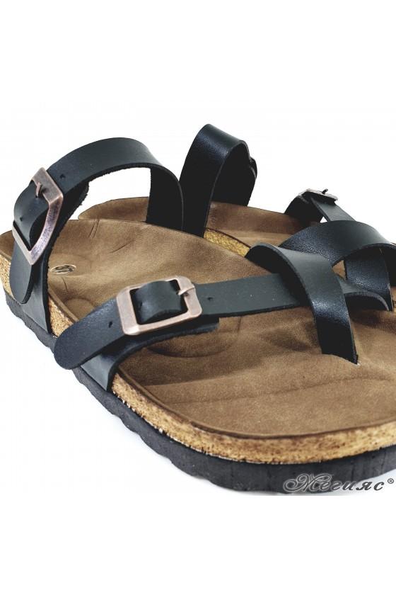 Дамски чехли от еко кожа черни 5003