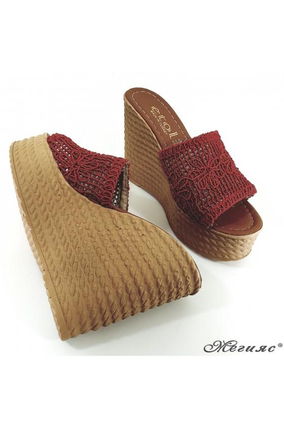 Дамски чехли на платформа текстил червени 2203