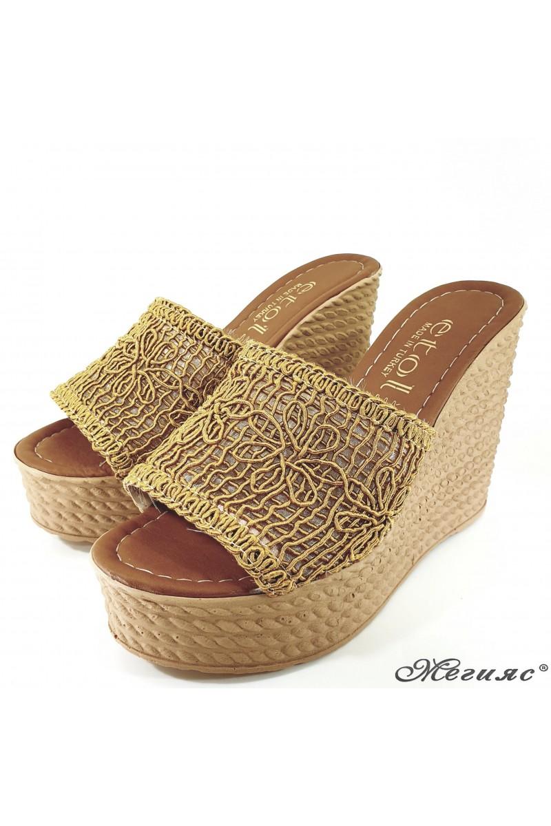 Дамски чехли на платформа текстил горчица 2203