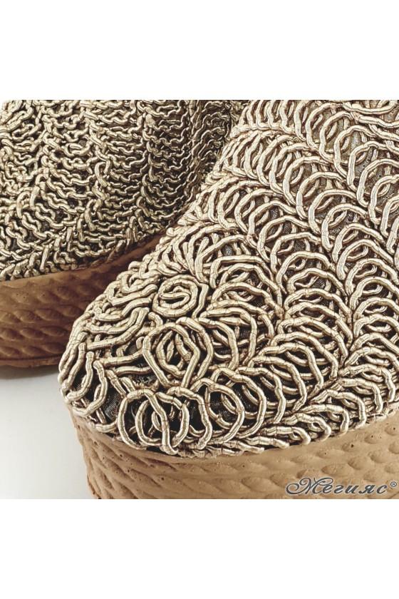 Дамски чехли oт текстил бежови 2205
