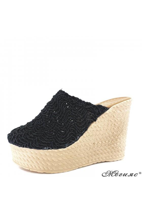 Lady slippers black textil 2205