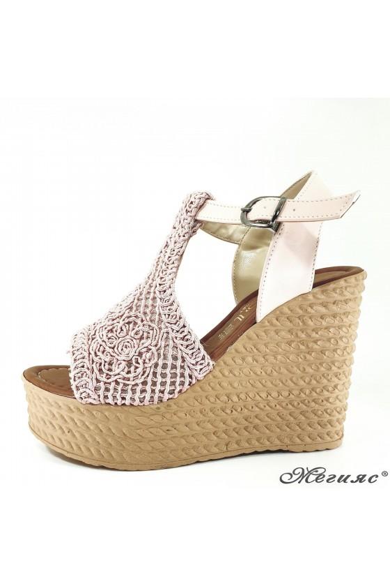 Lady sandals textil pudra 2202