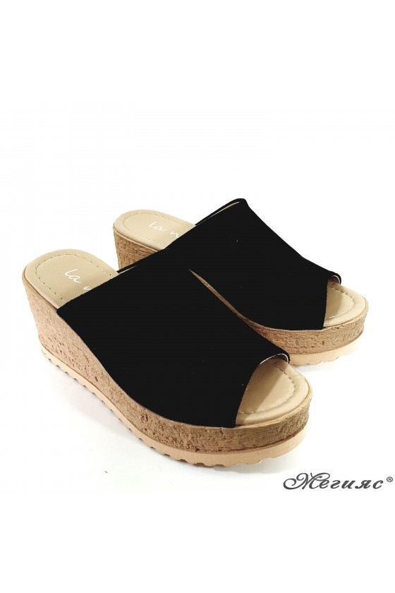 Lady flippers black suede 298