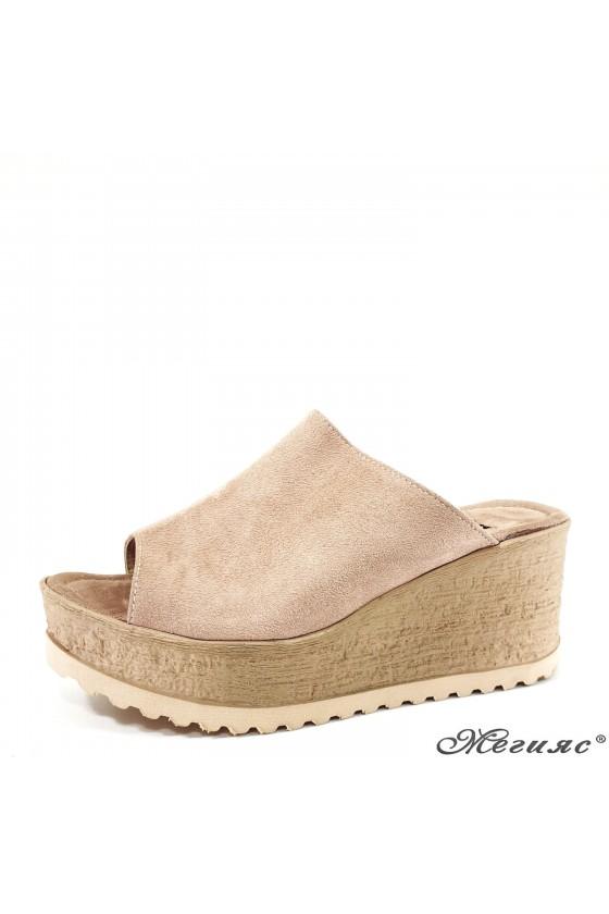 Дамски чехли от еко набук пудра 298