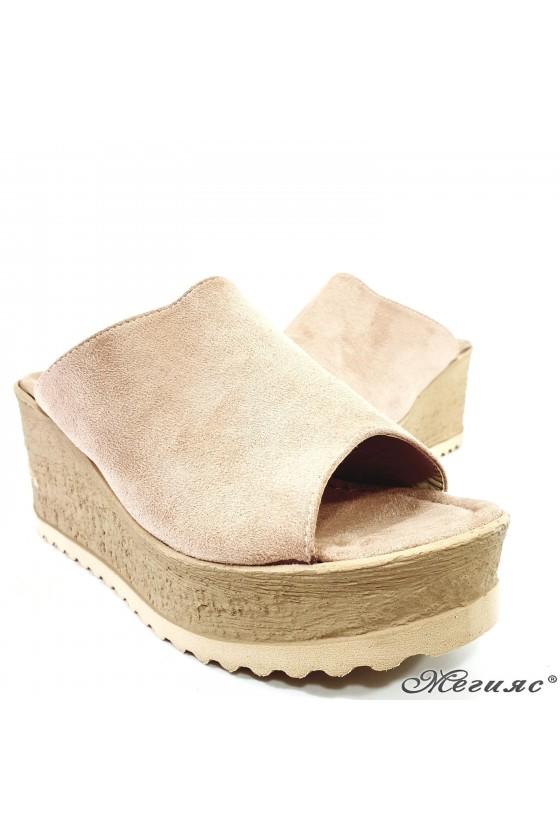 Дамски чехли на платформа пудра 298