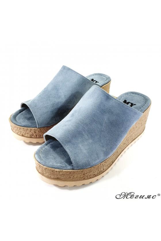 Дамски чехли от еко набук сини 298
