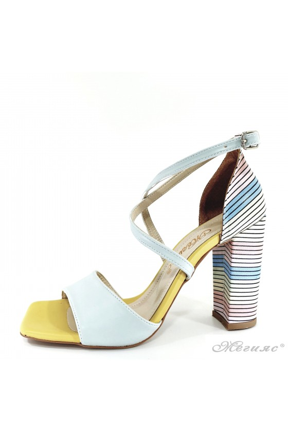 Lady sandals lt blue with high heels 1012