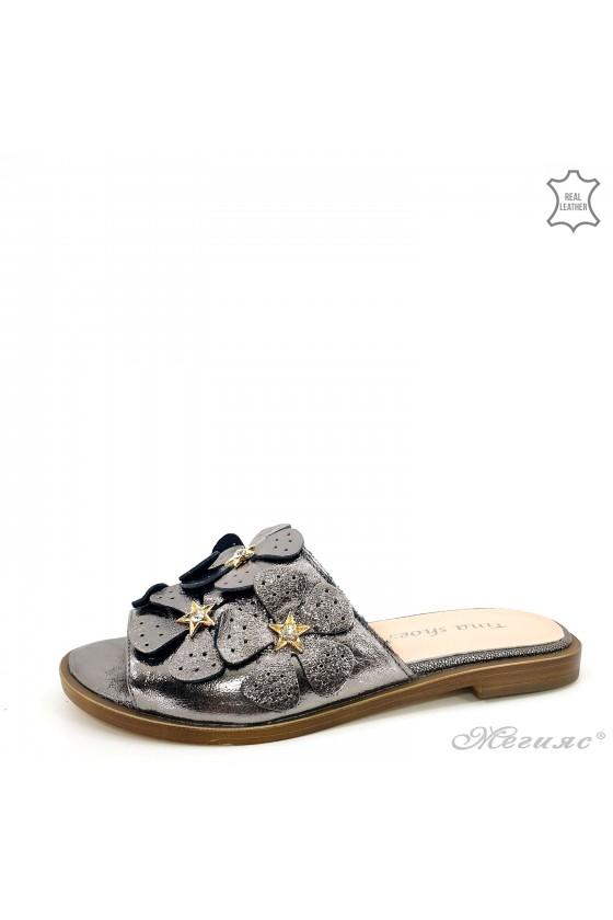 Дамски чехли от естествена кожа графит 1581