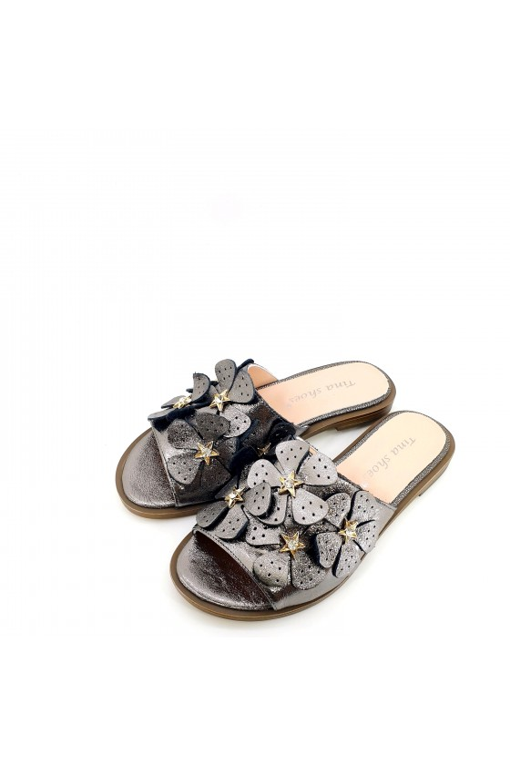 Lady flippers dk grey leather 1581