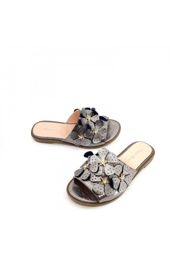 Дамски чехли естествена кожа графит 1581