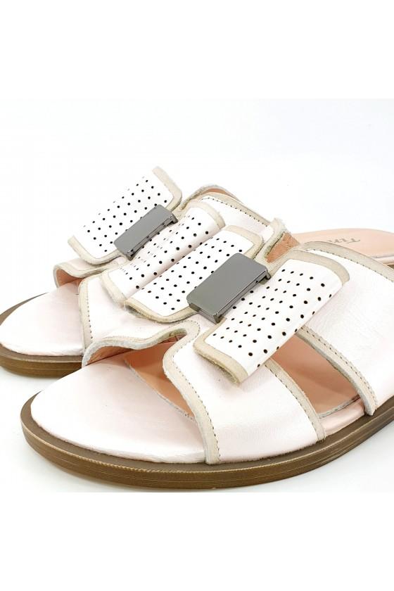 Дамски чехли естествена кожа пудра 1580