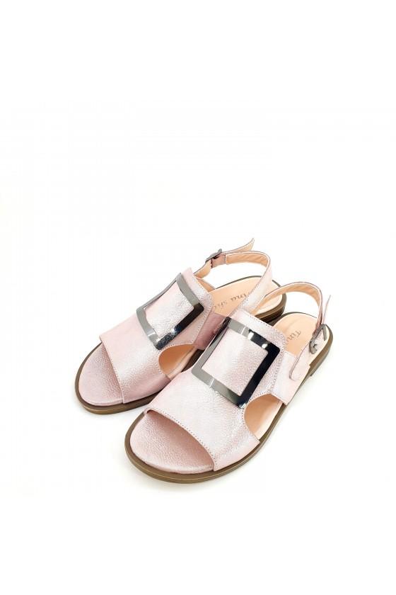 Дамски сандали от естествена кожа пудра 1583