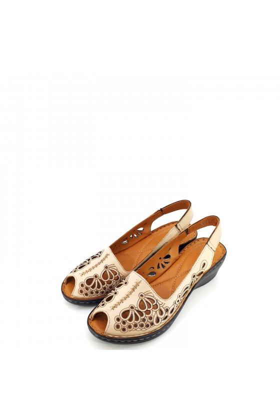 Дамски сандали от естествена кожа бежови 2031-03