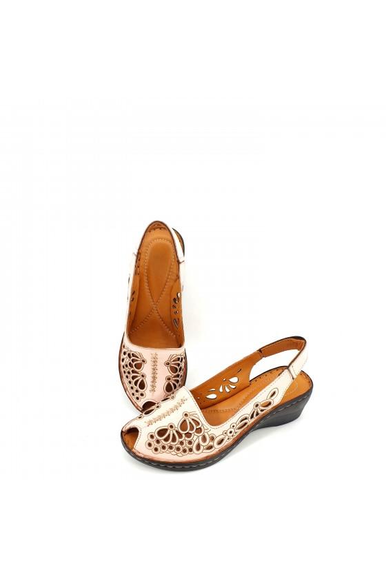 Дамски сандали от естествена кожа пудра XXL 2031-09