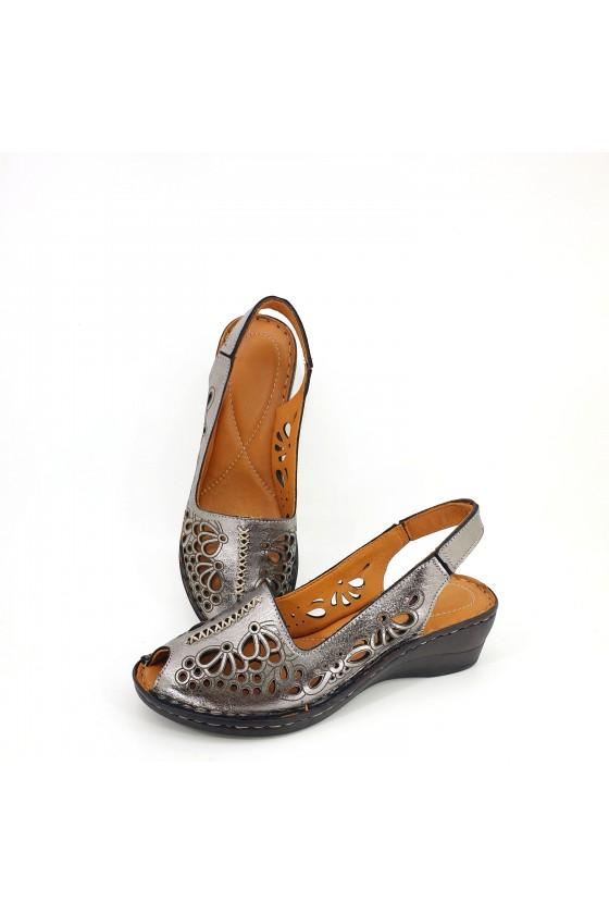 Lady sandals dk grey leather 2031-24