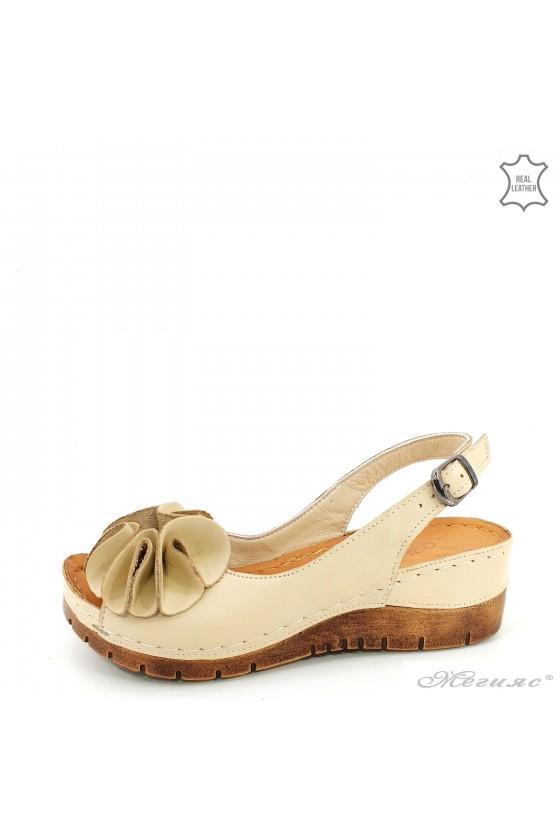 Дамски сандали XXL бежови 1088