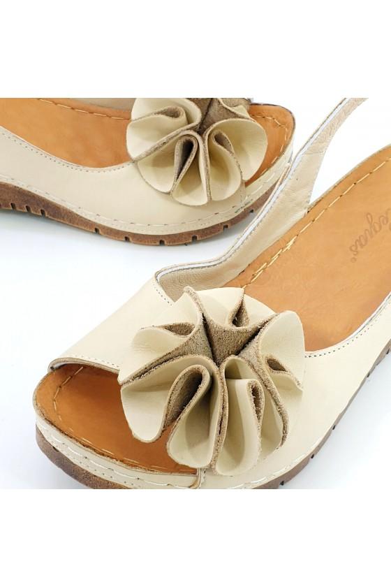 Lady sandals XXL beige leather 1088