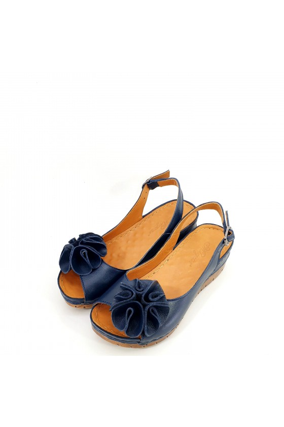 Lady sandals XXL blue leather 1088