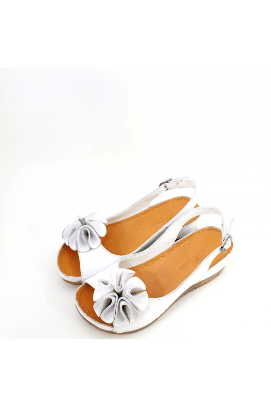 Lady sandals XXL white leather 1088