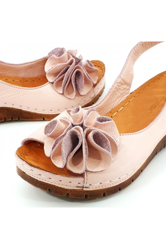 Дамски сандали XXL пудра 1088