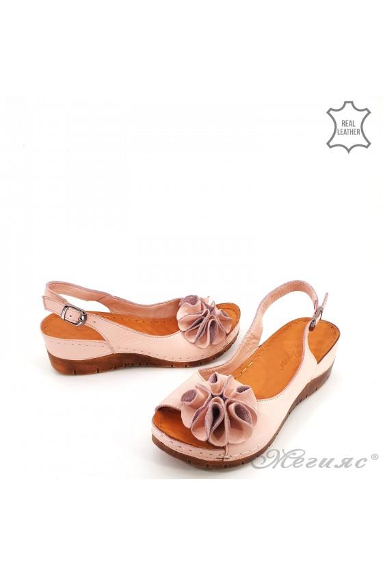 Lady sandals XXL lt pink leather 1088
