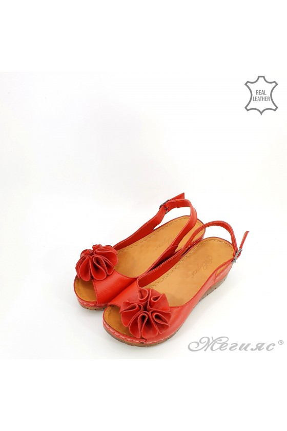 Lady sandals XXL red leather 1088