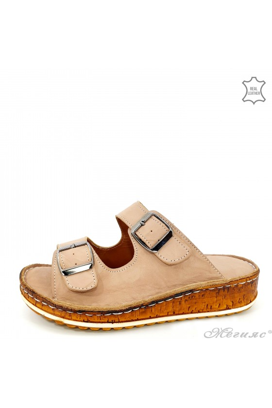 Lady flippers beige leather 207