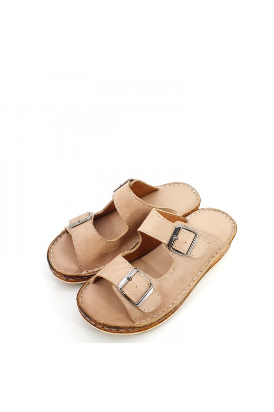 Дамски чехли от естествена кожа бежови 207