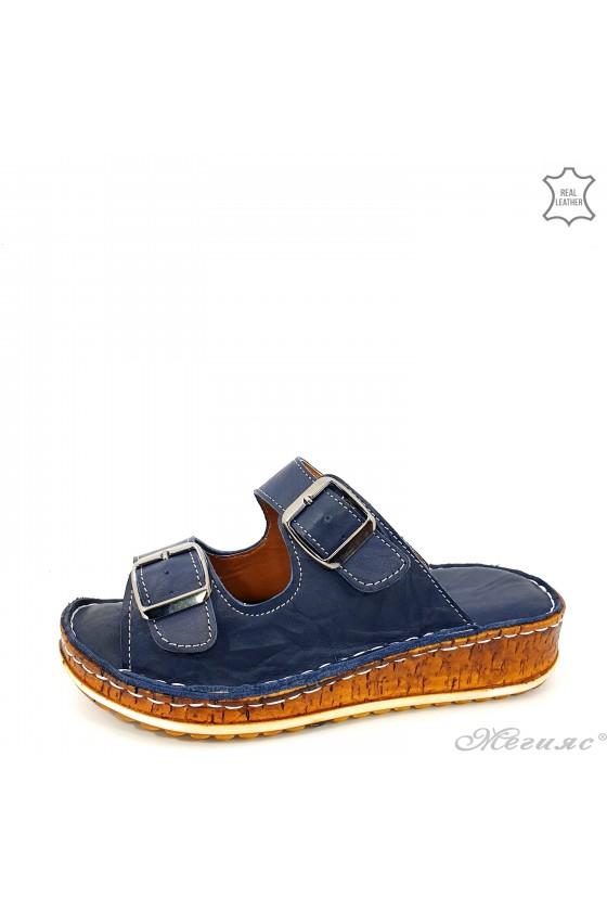 Дамски чехли от естествена кожа сини 207