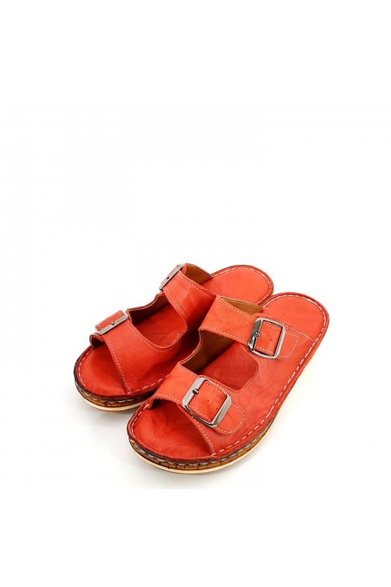Дамски чехли от естествена кожа червени 207