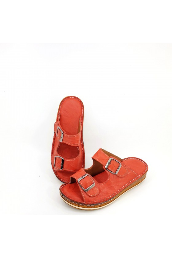Lady flippers red leather 207