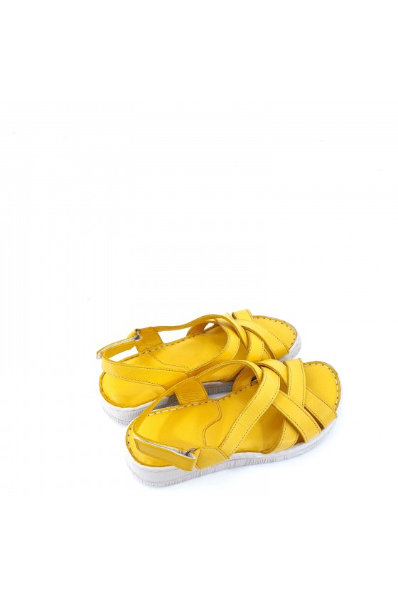 Lady sandals yellow leather 232