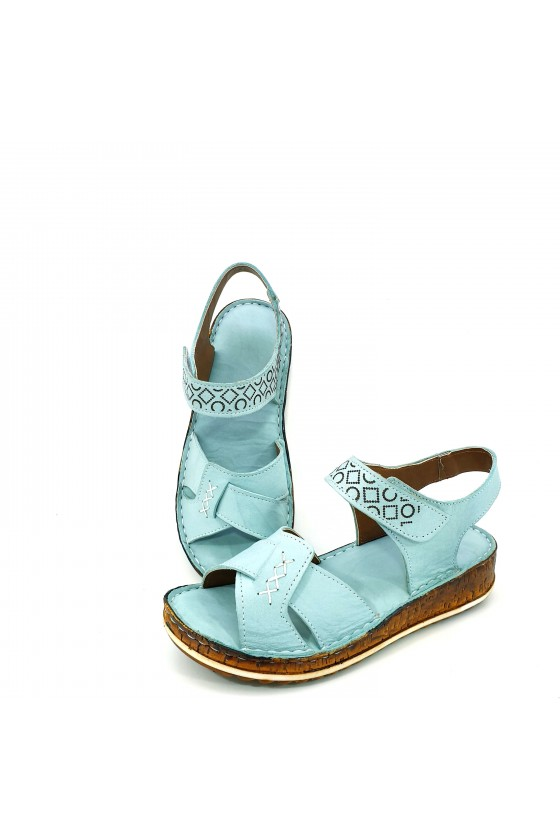 Lady sandals lt blue leather 206