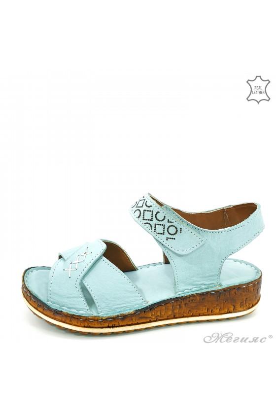 Дамски сандали от естествена кожа мента 206