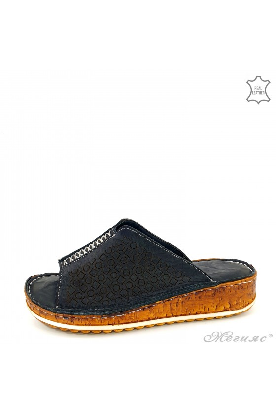 Дамски чехли от естествена кожа черни 204