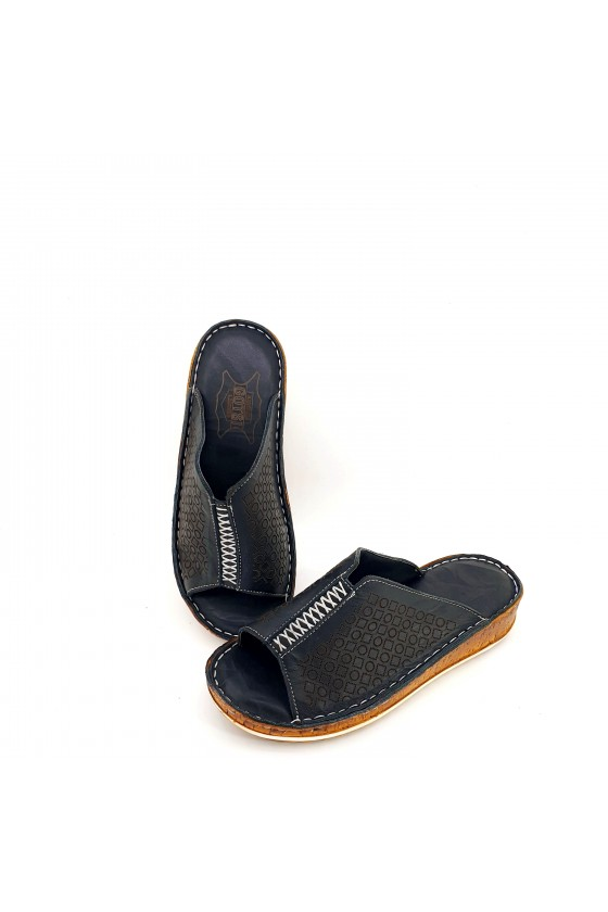 Lady flippers black leather 204