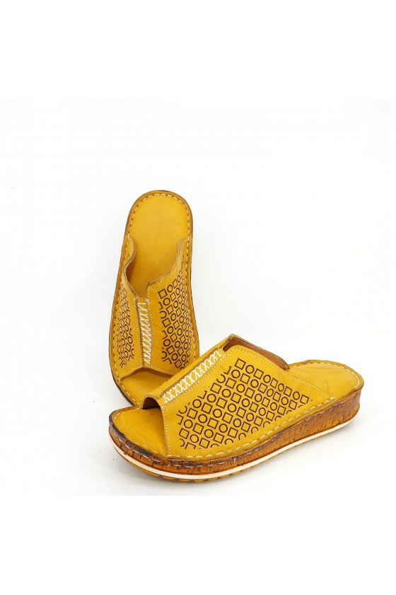 Lady flippers dk yellow leather 204